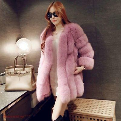 Luxury Womens Winter Warm Faux Fur Coat Thicken Parka Outwear Jacket Soft Party