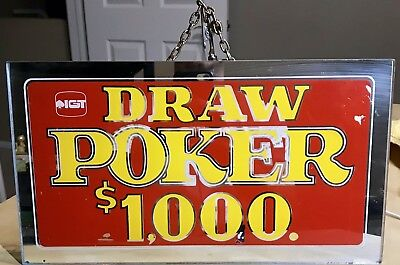 Vintage Authentic IGT Draw Poker Glass Mirror Sign 13.5x7.5 Golden Nugget Vegas