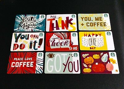 2018 Canada Starbucks Recycled Paper Gift Card ----- Lot Of 9 Pcs. -- New