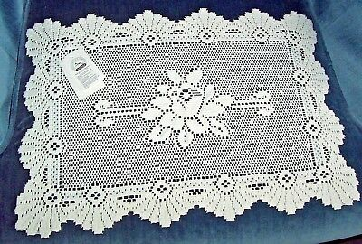 Lace Doily Coquille Rose Rectangle 13X19 Great Bay Lace Company Liechtenstein **