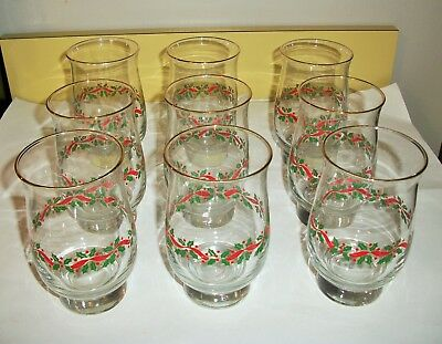 9 Libbey Arby's Holly Berries and Ribbon Glasses Tumblers Goblets Lot