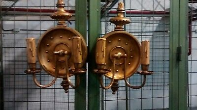 Great Antique pair of French gilt wood sconces Empire style