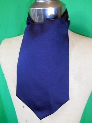 Original Vintage Navy Blue Polyester Hardy Amies Cravat Ascot Steampunk Formal