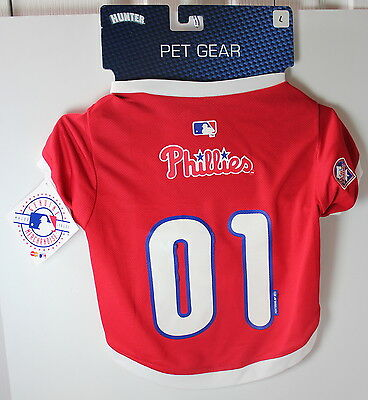 "Philadelphia Phillies Dog Pet Jersey Large 16""-17"" Length MLB New w Defects"