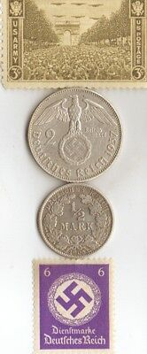 """egyp. """"CLEOPATRA"""" coin + silver-1905 and WW2 *german SILVER EAGLE coins / stamps"""
