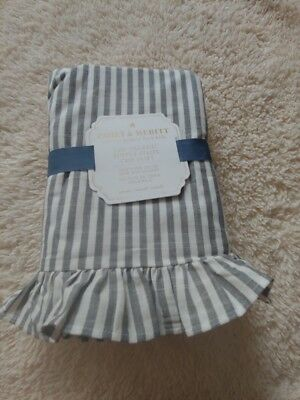 pottery barn kids  Emily & Meritt Stripe Ruffle Crib Skirt original $99 one size