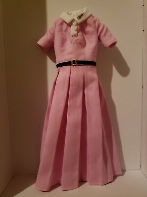 *barbie Dress* Pink Pleated Dress With White Collar & Black Belt