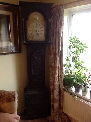 Antique English Solid Oak Brass Dial Longcase Grandfather Clock,