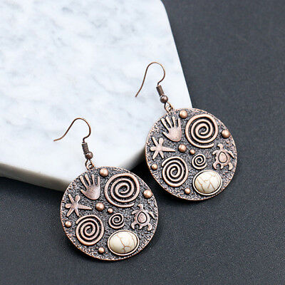 Charming Round Turtle Starfish Emboss Dangle Earrings for Anniversary Party one