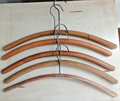 5 Vintage Round Rod Wood Clothes Hangers