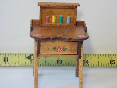 Hand Painted Sewing Table Signed BJB Artist Dollhouse Miniature1/12 Handmade
