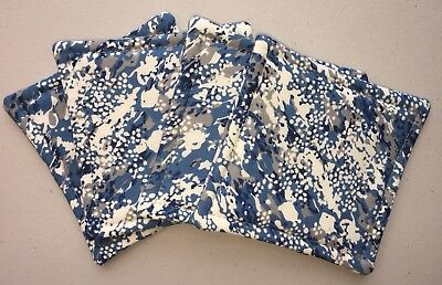 Coasters Blue Gray Beige Reversible Absorbent Fabric New Set of 4
