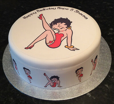 Personalised Betty Boop 01 pre-cut Edible Icing Cake Topper or Ribbon