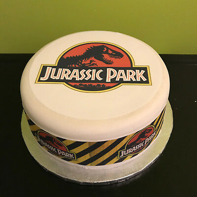 Personalised Jurassic Park pre-cut Edible Icing Cake Topper or Ribbon