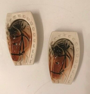vintage ceramic pair of horse head wall pockets Made in Japan