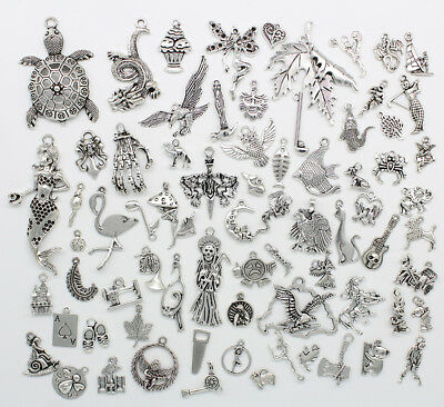 Wholesale Antique Silver Jewelry Finding Charms Pendants Carfts DIY 77 Styles