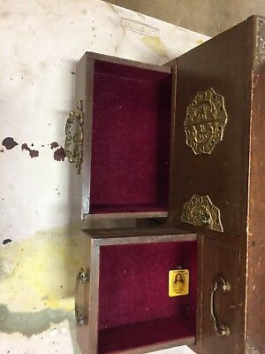 Vintage Antique Wood Jewelry Box Music Working