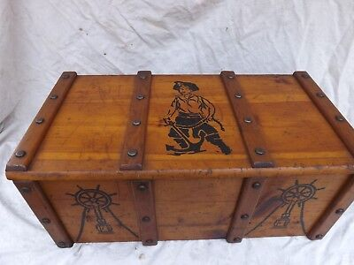 VINTAGE ANTIQUE WOOD  BOX TOY CHEST  Pirate Treasure Ship  Anchor Theme Graphics
