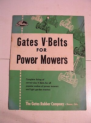 Gates Rubber Company Power Mower Fit Guide 1958