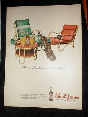 "1945 Paul Jones Whiskey Vintage Magazine Ad ""This is the best round we've had.."""