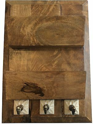 Rustic Wooden Paper /  Letter Rack with Three Hooks STC781073