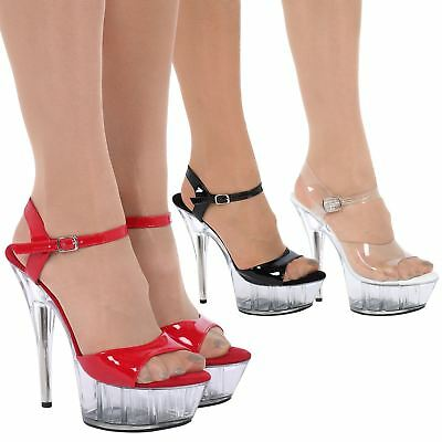Womens Clear Stilettos High Heels Platforms Ladies Sandals Shoes Size 3UK-8Uk