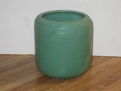 Antique Teco Pottery Matte Green Vase #310, Double Marked