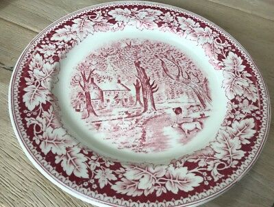 Vintage Homer Laughlin Currier & Ives Home Sweet Home Dinner Plates Three 3