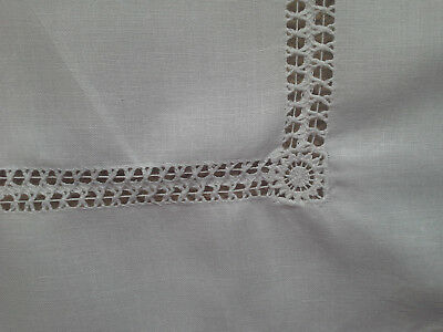 Vintage Irish Linen Dressing Table/Tray Cloth with Pulled Thread Work
