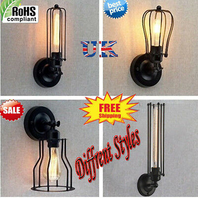 INDUSTRIAL Retro Vintage Rust Iron Cage Shade Wall Light Corridor Lamp Lighting
