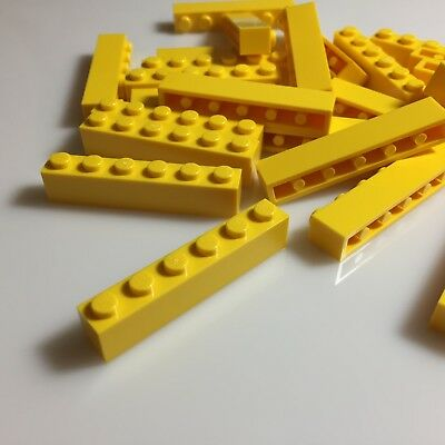 4 x LEGO 6636 Plaque Lisse jaune bright yellow NEUF NEW Plate Tile 1x6