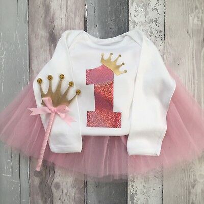 First Birthday 1st Baby Girls Vest, Cake Smash outfit One  (tutu & wand Not Inc)