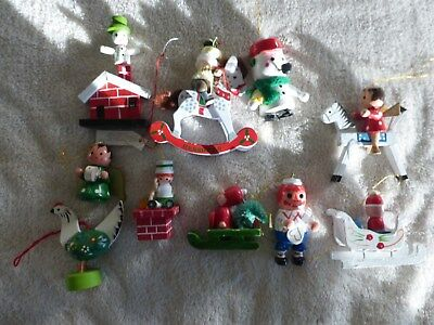 Lot of 10 Large Vintage Hand Painted Wood Christmas Ornaments (lot 1)