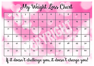 WEIGHT LOSS CHART - 3 stone - 1 Sheet of stickers - Coloured Hearts