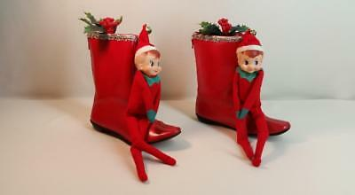 Rare Vintage Christmas Pixies - Knee Hugger Elves - 1960's-70's Red GoGo Boots