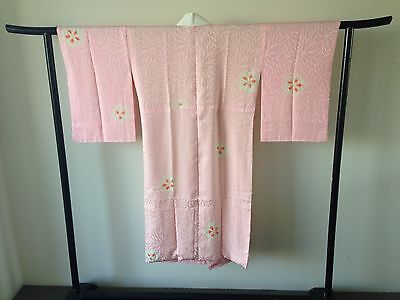 Vintage Pink Silk Shibori Japanese Hand Made One of a Kind Kimono Robe Costume