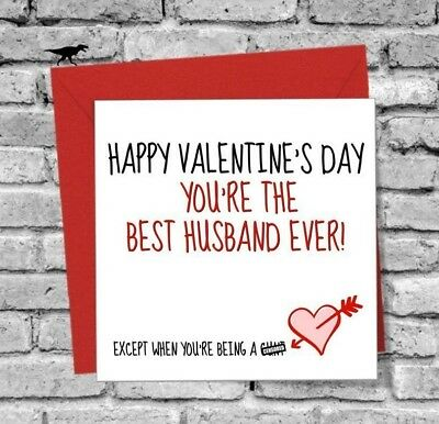 Husband Hubby Happy Valentines Day Greetings Card Love Funny Humour