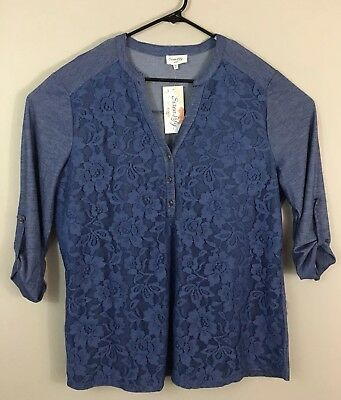 8c077ce5340 Siren Lily Womens Blouse Tunic Blue Plus Size 3X Henley Lace Roll Tab  Sleeves