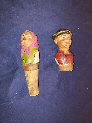 Antique German Folk Art Carved Wine Stoppers