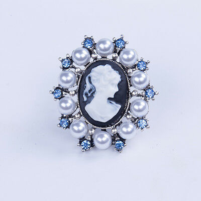 Woman Brooch Pin Vintage Rhinestone White Pearl Victorian Cameo Blue Jewelry