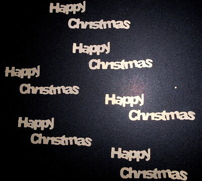 Die-cuts x 6 HAPPY CHRISTMAS  ~ GOLD ~ Scrapbooking/Cardmaking