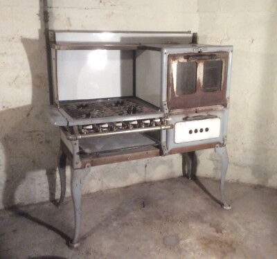 Antique Detroit Stove Works Jewel Cast Iron Enamel Stove Range Oven