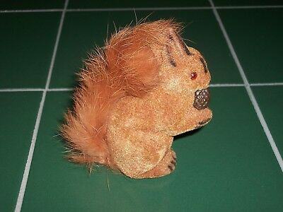 "West Germany Flocked Reddish Brown Squirrel w/ Nut Fluffy Tail Label 3&1/2"" Tall"