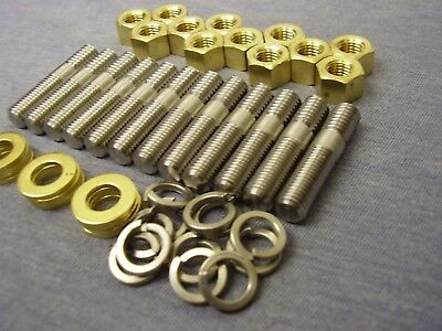 Ford Essex V6 Stainless Steel Exhaust Manifold Studs, Brass Nuts & Washers (12)