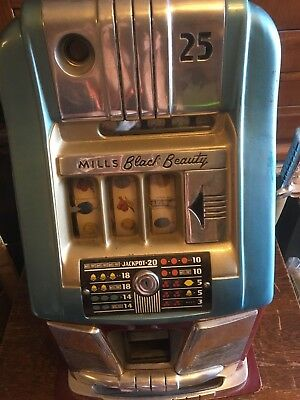 Mills Black Beauty 25 Cent / Quarter Slot Machine With Vintage Oak Pedestal.