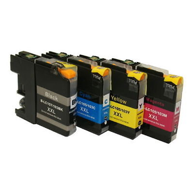 4 Pk Non-Oem Ink Cartridge For Brother Lc-105 Lc-107 Mfc-J4410Dw Mfc-J4510Dw