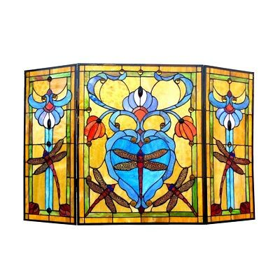 Stained Glass Fireplace Screen Tiffany-style Dragonfly Folding
