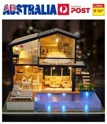 AU! DIY Wooden Doll House Miniature Kits LED Furniture Cottage House Gift +Music