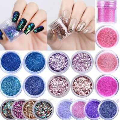 10ml Nail Art Glitter Powder Dust Rose Gold Purple Pink Nails Sequins