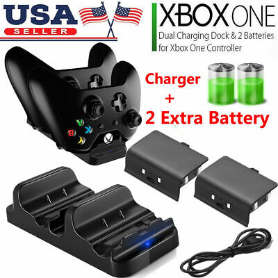 XBOX ONE Dual Charging Dock Station Controller Charger + 2 Rechargeable Battery